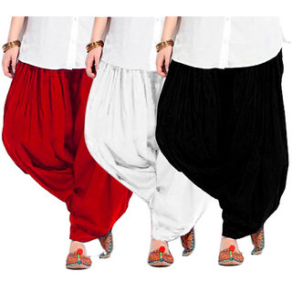 kriso Pack of 3 Patiala Salwar - Black, White n Red