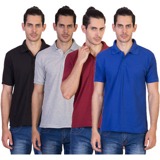 Kaizen Men's Multicolor Polo Collar T Shirt Pack of 4
