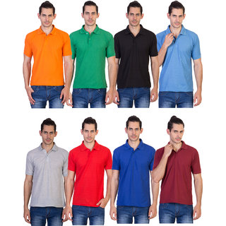 Vestiario Pack of 8 Men's Multicolor Polo Collar T-Shirt