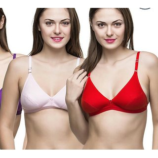 Buy Raj fashion red pink bra and blue brown panties set pack of 2 ... 03278a220