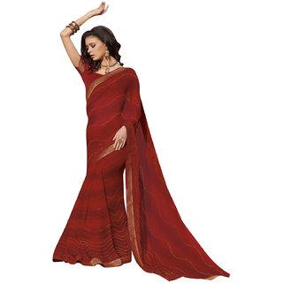 5bf3e15e47bf2 Odhni Women's Indian Bollywood Designer Partywear Traditional Chiffon  maroon Saree