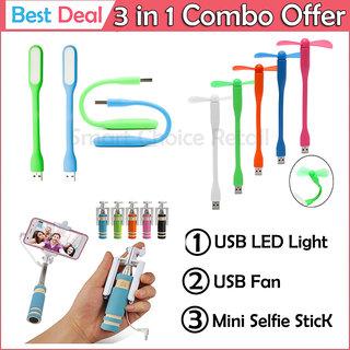 Mini Selfie Stick USB LED Light USB Fan Combo