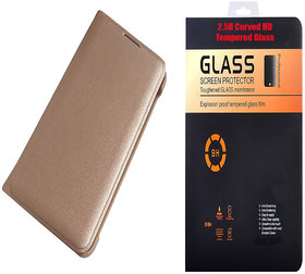 Reliance Jio Water 3 Golden Leather Flip Cover with 9H Curved Edge HD Tempered Glass
