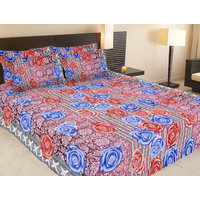 Floral Print Printed Bed Sheet With 2 Pillow Cover