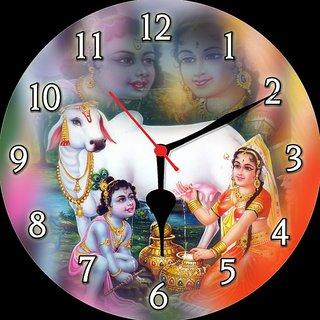 3d krishna with yashoda maa wall clock