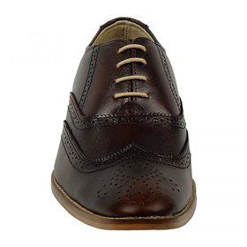 ZINT Genuine Soft Leather Mens Brown Formal Lace-up Shoes