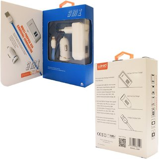 LDNIO  S100 EU Plug 3 in 1 Charger Kit 2USB 2.1A Home Charger + Car charger + Usb Cable