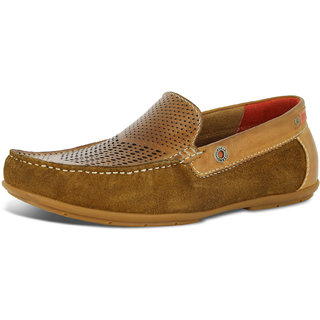 Alberto Torresi  Men's Tan+red Casual Shoes