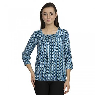 SZEP Party 3/4th Sleeve Printed Women's Multicolor Top