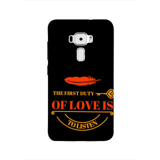 Print Masti Cute Black Card With Bow Design Back Cover For Asus Zenfone 3 ZE552KL (5 Inches)