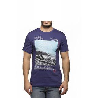 Yo Republic Men Purple Round Neck T-Shirt