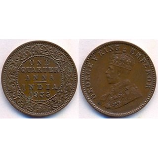 MAHNA GEORGE V KING EMPEROR ONE QUARTER ANNA INDIA 1935 COPPER COIN/SIKKA