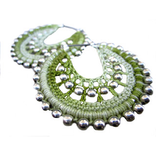 Multicolor Crochet Earings Hoop Earrings light green silver