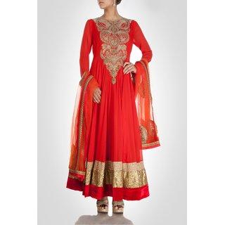 Designer Georgette Anarkali Suit Red