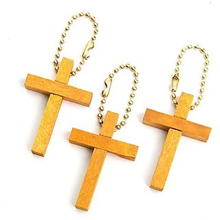 Wooden Cross Keychain (12 dozen) - Bulk Toy