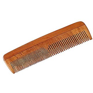 NERR Neem Wood Comb - Anti Dandruff, Non-Static and Eco-friendly- Great for Scalp and Hair health -7 Coarse-Fine Combo toothed