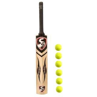 SG Tennis Kashmir Willow Cricket Bat (Full Size) with Free Tennis Balls (6 Pcs.)