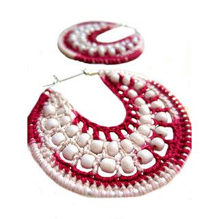 Multicolor Crochet Earings Hoop Earrings red cream