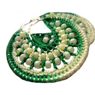 Multicolor Crochet Earings Hoop Earrings green cream