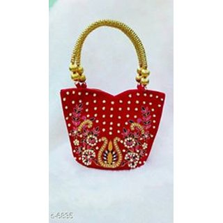 Embroidery Tote Bag In Red Color