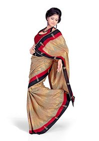 florence clothing company Beige Silk Printed Saree With Blouse