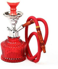 Heavy Base Stylish Red 14 Inch Glass Hookah By Emarket Set Of 1