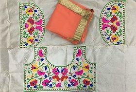 Nuteez Multicolor Crepe Self Design Saree With Blouse