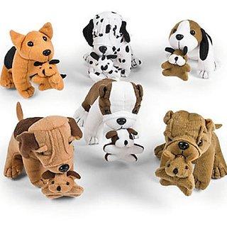 Plush Dogs Holding Puppies (1 dz)