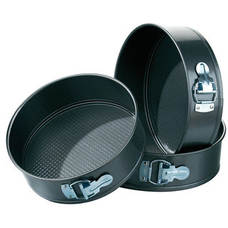 3pcs- Non-Stick Metal Cake Pan Round Shape Black Cake Mould