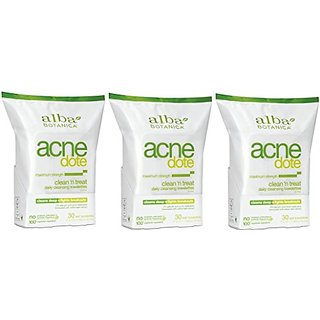 Alba Botanica Natural Acne-Dote Maximum Strength Daily Cleaning Towelettes - 30 Ct Neutrogena Lip Moisturizer Spf#15 Stick (3 Pack)