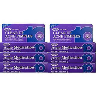 6 Pack - Rugby Acne Medication Gel Benzoyl Peroxide 10% 1.5 oz Thalgo - Cold Cream Marine Deeply Nourishing Cream-Balm (Salon Product) - 1200ml/40.56oz