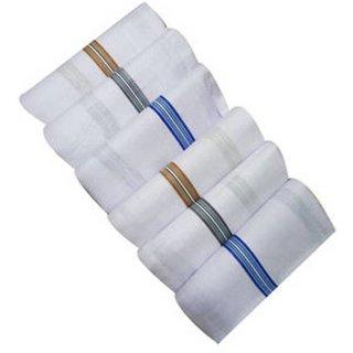 Tahiro White Cotton Coloured Bordered Handkerchiefs - Pack Of 5