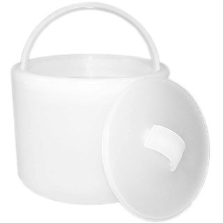 """Party Essentials Hard Plastic 6-1/2"""" Ice Bucket with Lid, Translucent"""