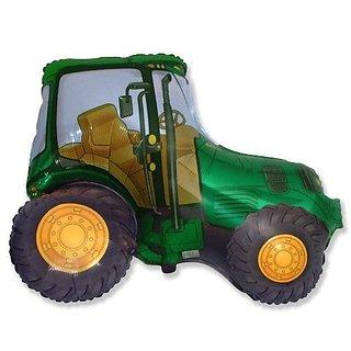 """Green Tractor 26"""" Foil Balloon - Farmyard Party"""
