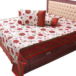 Pure Cotton Floral Print Double Bed Sheet Set