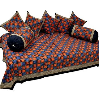 Jaipuri 8 Piece Block Print Dewan Bed Cover