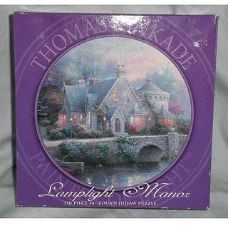 """Thomas Kinkade """" Painter of Light """" Lamplight Manor Round Jigsaw puzzle 24"""" - 750 pieces"""