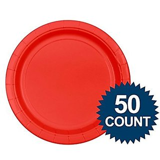 """Apple Red Big Party Pack - Red 7"""" Paper Plate, 50 ct. - Dessert Plates"""