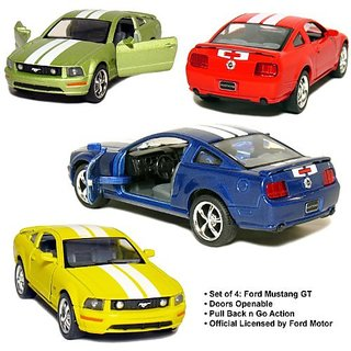 Set of 4: 5 2006 Ford Mustang GT with Stripes 1:38 Scale (Blue/Green/Red/Yellow)