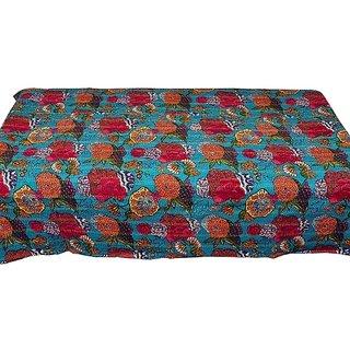Hand Block Print Katha Thread Single Bed Sheet