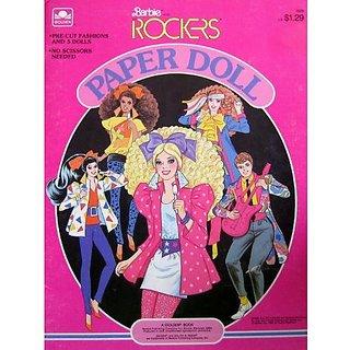 Barbie & The ROCKERS PAPER DOLL BOOK w Derek, Barbie, Dana, Dee Dee & Diva Dolls (1986)