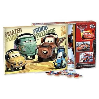 CARS 2 3 Wood Puzzles in Storage Box