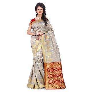 Krishnam Fashion Beige Banarasi Silk Printed Saree With Blouse