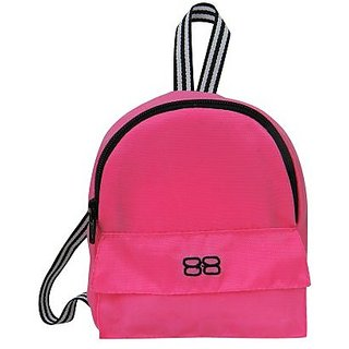 18 Inch Doll Backpack, Doll Sized Pink Nylon, Zipper Opening and Pocket in Hot Pink