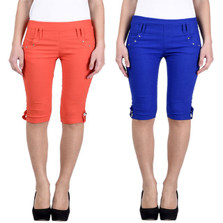 HARDY'S COLLECTION Plain Cotton Capri for Women's (Pack of 2)