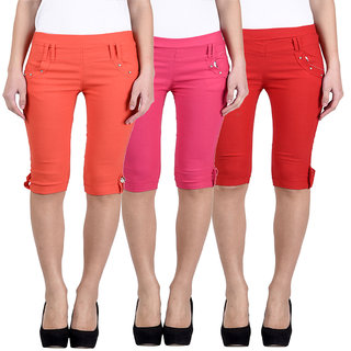HARDY'S COLLECTION Plain Cotton Capri for Women's (Pack of 3)