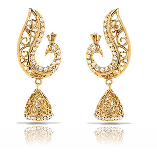 Oviya Gold Plated White Peacock Jhumki Earrings With Crystals