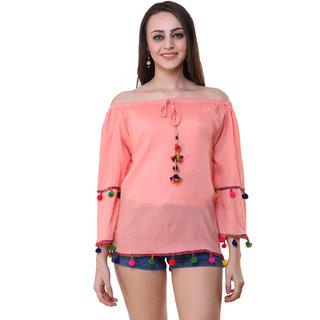Myshka Pink Plain Round Neck Top For Women
