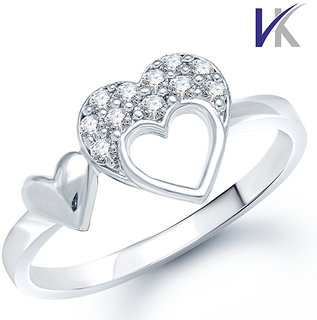 VK Jewels Double Heart (CZ) Rhodium Plated Ring - FR1025R
