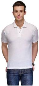 Akaas Men's White Polo Collar T-Shirt